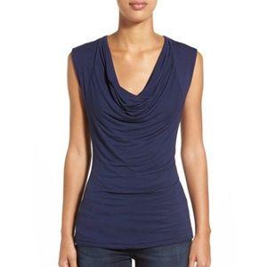 Jones Wear Sleeveless Navy Blue Cowl Neck Top